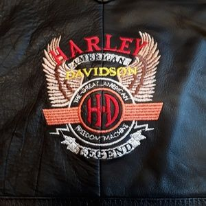 "Harley-Davidson Leather Vest Size  22"" Pit To Pit"